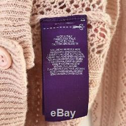 $1,390 Ralph Lauren Collection Cardigan Cable Pointelle Cashmere Knit Sweater S