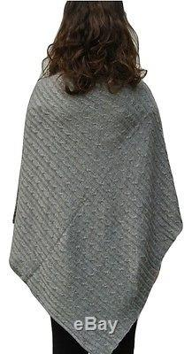 100% Pure Cashmere Luxury Cable Knit Poncho in pale grey, Handcrafted In Nepal