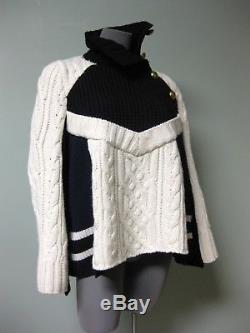 $1040 Sacai NEW Black Navy Ivory Stripes Mixed Cable Knits Trapeze Sweater 3