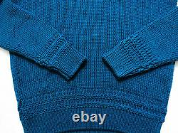 $1170 TOM FORD Blue Slim Fit Cable Knit Thick Cotton V-Neck Sweater Size Small