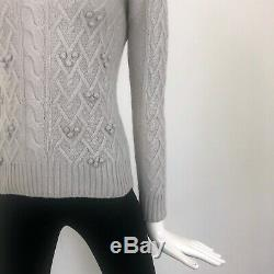 $1200 Loro Piana Women CASHMERE Cable Knit Jumper Sweater Pullover Size S 40 US2