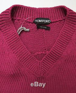 $1270 TOM FORD Pink Cable Knit Thick Cotton Vneck Pullover Sweater Size Large
