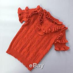 $1300 Gucci Women Campaign Red Wool Knit Ruffle Jumper Sweater Pullover S US 2 4