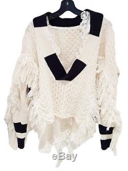$1483 SACAI Ivory Wool Fringe Stripes Cable Knit Lace Pullover Top Sweater 1