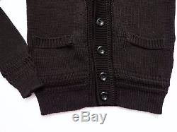 $1500 TOM FORD Brown Cable Knit Cotton Cardigan Sweater Jacket Size Large