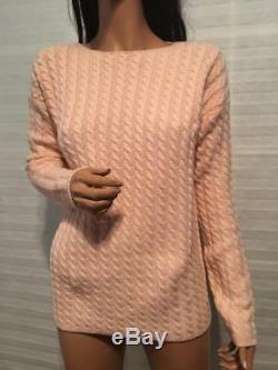 $1645 NTW Auth LORO PIANA 100% Baby Cashmere Pink CABLE Knit Sweater sz 44