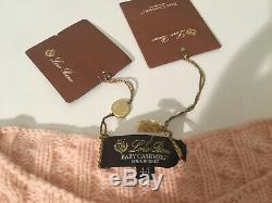 $1645 NTW Authentic LORO PIANA 100% Baby Cashmere Pink CABLE Knit Sweater sz 46