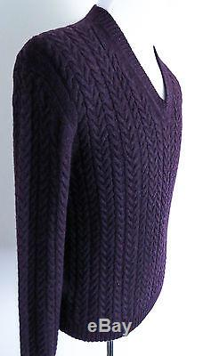 $1660 TOM FORD Ultra Soft 100% Cashmere Cableknit Vneck Sweater Size 54 Euro XL