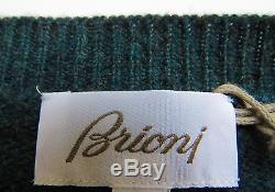 $1780 NWT BRIONI Ultra Soft 100% Cashmere Vneck Cableknit Sweater Size 2XL