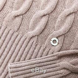 $2000 Loro Piana BABY CASHMERE Cable Knit Roll Neck Jumper Sweater Pullover 42 S