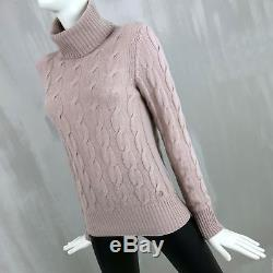 $2000 Loro Piana BABY CASHMERE Cable Knit Turtleneck Jumper Sweater Size IT42