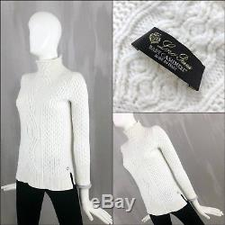 $2000 Loro Piana Ladies BABY CASHMERE Cable Knit Jumper Sweater Pullover XS S