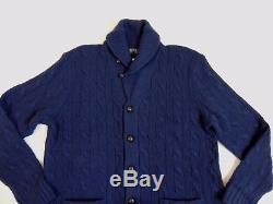 $295 Polo Ralph Lauren Wool Leather Cable Knit Shawl Sweater Cardigan Jacket XXL