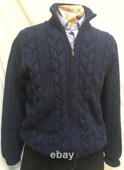 $3200 KITON heavy 100% Cashmere Cable knit Cardigan Sweater Sz LG Mint Cond