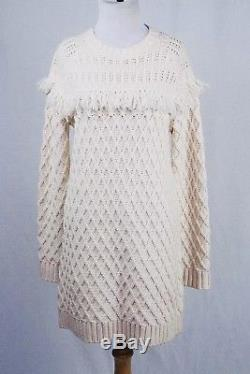 $348 Tory Burch Cream Cable Knit Fringe Sweater Dress Size Small