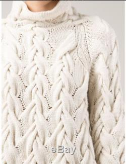 $3890 The Row Leander Cable Knit Cashmere Silk Blend Sweater in Ivory sz M