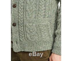 $395 Polo Ralph Lauren WOOL CASHMERE CABLE KNIT SWEATER CARDIGAN- MEN- L