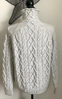 $395 Vince. Mock Funnel Neck Cable Knit Turtleneck Sweater Wool/Cashmere Grey XS