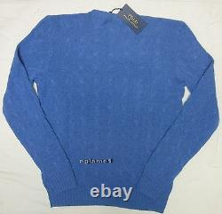 $398 NWT polo Ralph Lauren 100% soft cashmere cable sweater bright Blue XXL