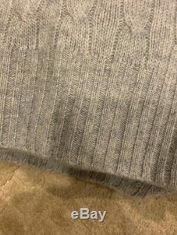 $398 POLO Ralph Lauren Cashmere Crew Neck Cable Knit Sweater Grey S SMALL