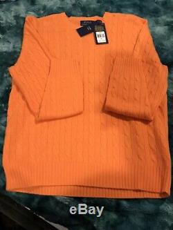 $398 Polo Ralph Lauren Men 100% Cashmere Soft Luxury Pullover Cable Knit Sweater