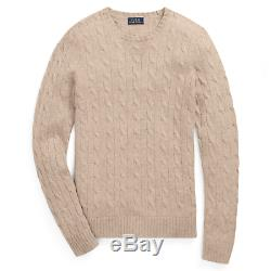 $398 Polo Ralph Lauren Womens Cashmere Cable Knit Brown Crew Neck Sweater NWT