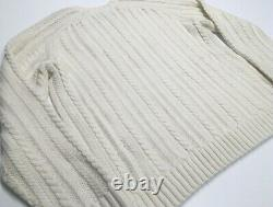 $425 Vince Cashmere & Wool Chunky Thick Cable Knit Crewneck Pullover Sweater Men