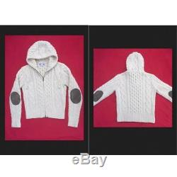 $450 MICHAEL BASTIAN For Gant Ivory Zip Hoodie Wool Chunky Cable Knit Sweater L