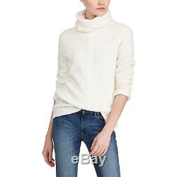 $498 Polo Ralph Lauren Womens Cream Cashmere Cable Knit Turtleneck Sweater NWT