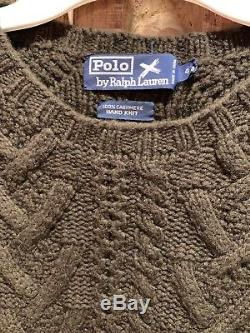 $500 Ralph Lauren Polo Mens Hand Knit Sweater 100% Cashmere Cableknit Size 44