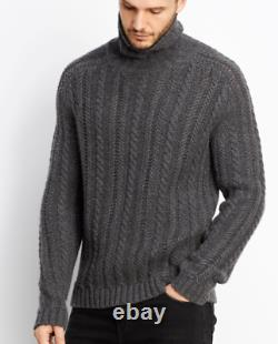 $525 NWT VINCE SzM CABLE KNIT TURTLENECK PULLOVER SWEATER DARK HEATERGREY