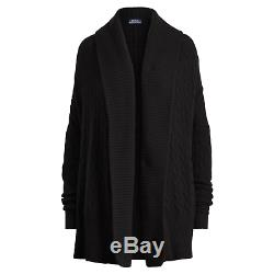 $598 Polo Ralph Lauren Womens Cashmere Cable Knit Black Shawl Cardigan Sweater