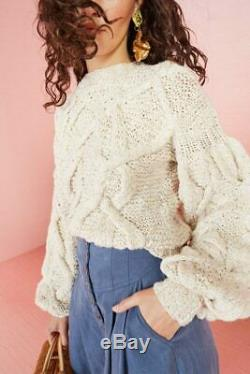 $635 ULLA JOHNSON Pilar Cable Knit Cotton Sweater Puff Sleeves Pullover Jumper L