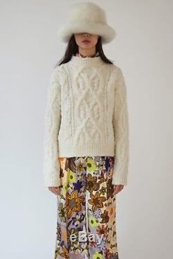 $650 Acne Studios AUTH NWT Edyta Cable Knit Chunky Sweater M Ivory