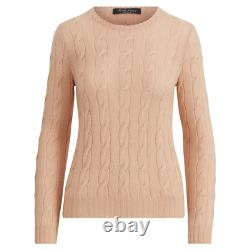 $690 Ralph Lauren Collection Black Label Italy Cable Knit Camel Cashmere Sweater