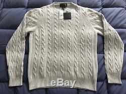 $698 Brooks Brothers 4-ply Cashmere Mens Medium Sweater Cable Knit Gray NWT