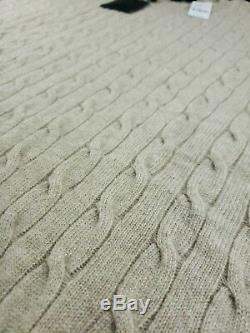 $749 BROOKS BROTHERS 100% Cashmere Cable-Knit Crewneck Sweater 2XL Beige