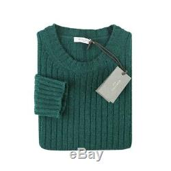 $795 NWT BOGLIOLI Forest Green Cable Knit Ribbed Cashmere Wool Sweater M