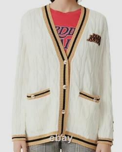 $798 Maje Women Ivory V-Neck Cable-Knit Embroidered Wool Cardigan Sweater Size 2