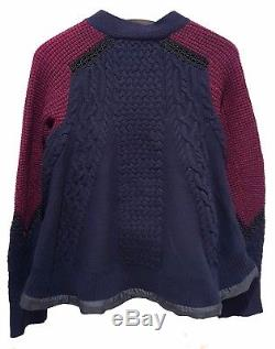 $860 SACAI Navy Blue Burgundy Wool Cable Knit Lace Trim Sweater Knit Cardigan 1