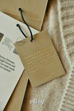 $895 Authentic BNWT BURBERRY Cable Knit Detail Cashmere Cardigan Womens Large