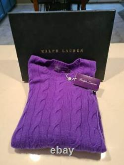 $995 Ralph Lauren Purple Label Cashmere Cable Knit Sweater Purple Made In Italy
