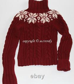 ABERCROMBIE Womens Vintage Hand Knit Cable Cardigan Sweater Burgundy L $180
