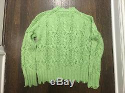 ACNE STUDIOS Kelenal Frayed Cable-Knit Sweater Green Size M Orig. $430 NWT