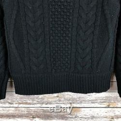 ALTUZARRA Wool Cashmere Blend Cable Knit Sweater Chunky Turtleneck Black size XS