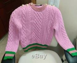 AW18 GUCCI LUREX WOOL SWEATER GG Cable Knit Pink Green Pearl Top Metallic NWOT
