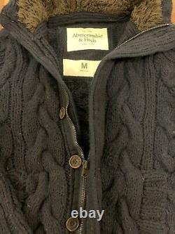 Abercrombie And Fitch Navy Cable Knit Hoodie Sweater Jacket Fur Lining Medium