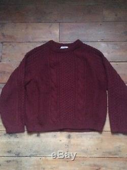 Acne Studios Archive AW12 Burgundy Oversized Cableknit Jumper Size L