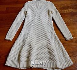 Alexander McQueen Ivory Cable Knit ALine Wool Sweater Dress US 0 2 4 IT 38 40 XS