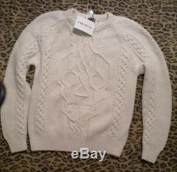 Alexander McQueen Skull Cable Knit Sweater Wool/Cashmere Sm Ivory Orig. $1200